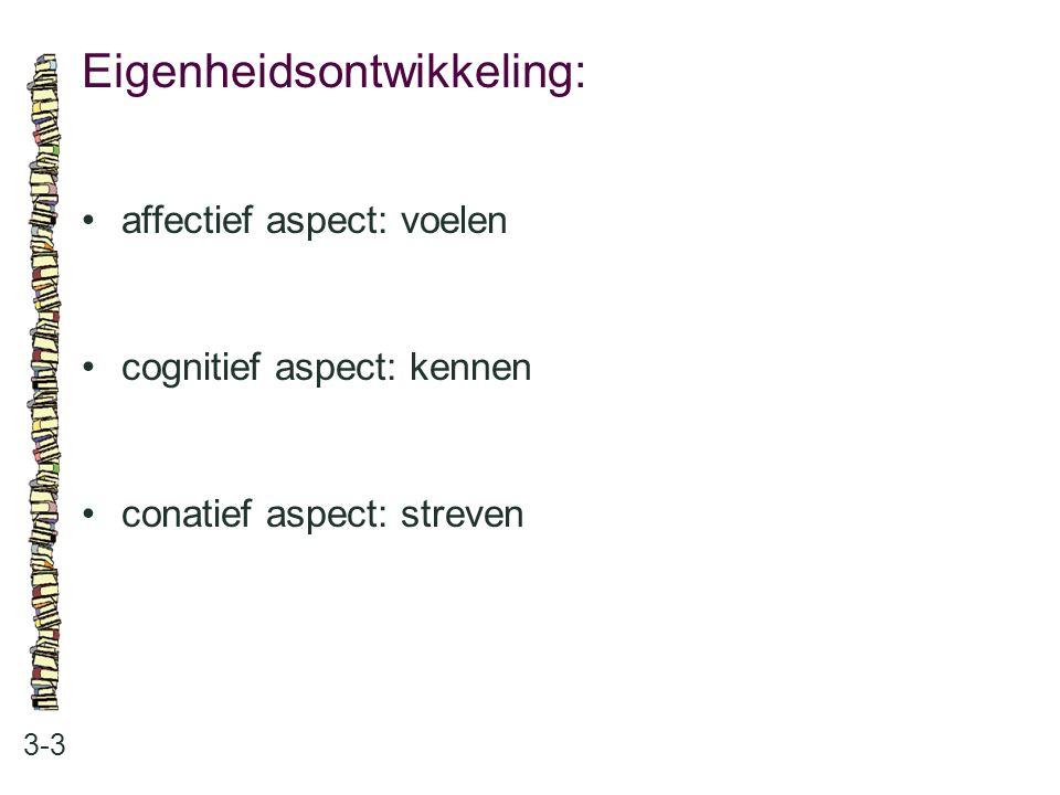 Eigenheidsontwikkeling: 3-3 affectief aspect: voelen cognitief aspect: kennen conatief aspect: streven