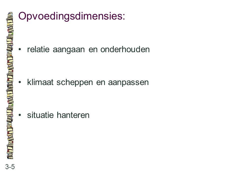 Opvoedingsdimensies: 3-5 relatie aangaan en onderhouden klimaat scheppen en aanpassen situatie hanteren