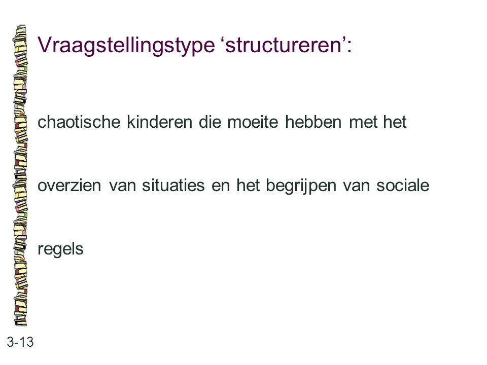 Vraagstellingstype 'structureren': 3-13 chaotische kinderen die moeite hebben met het overzien van situaties en het begrijpen van sociale regels