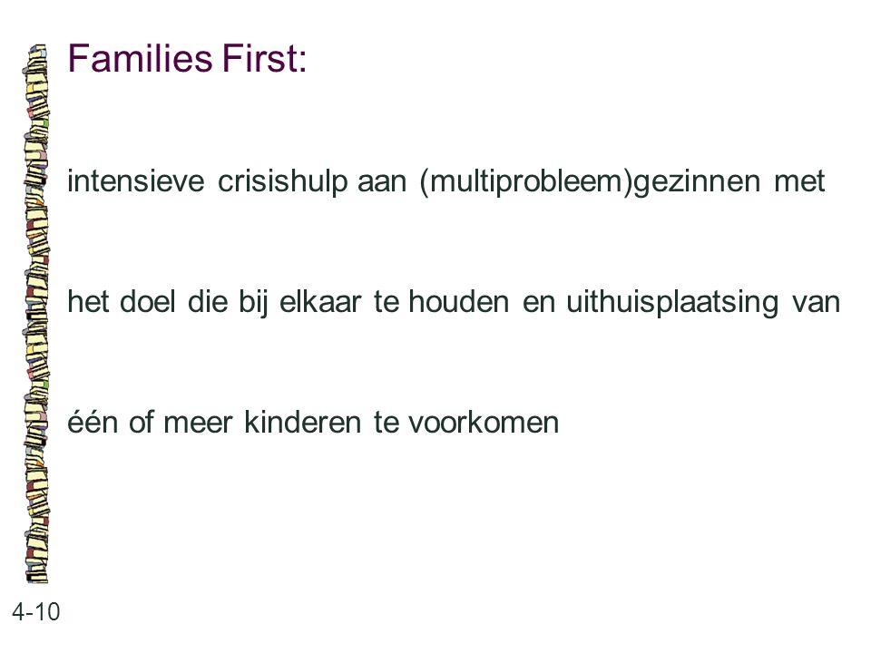 Families First: 4-10 intensieve crisishulp aan (multiprobleem)gezinnen met het doel die bij elkaar te houden en uithuisplaatsing van één of meer kinderen te voorkomen