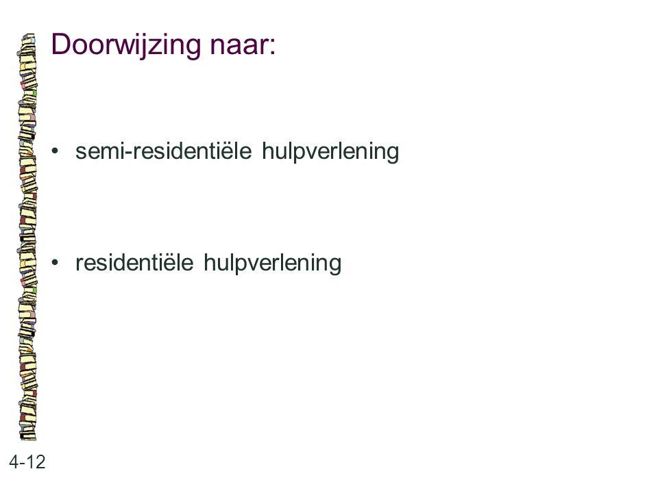Doorwijzing naar: 4-12 semi-residentiële hulpverlening residentiële hulpverlening