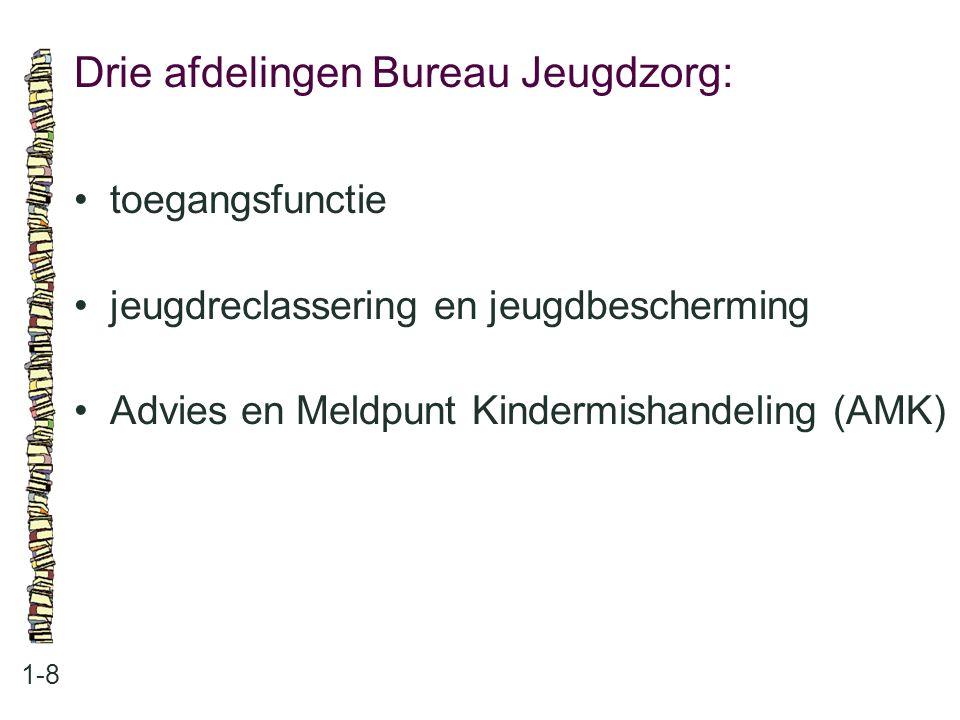 Drie afdelingen Bureau Jeugdzorg: 1-8 toegangsfunctie jeugdreclassering en jeugdbescherming Advies en Meldpunt Kindermishandeling (AMK)