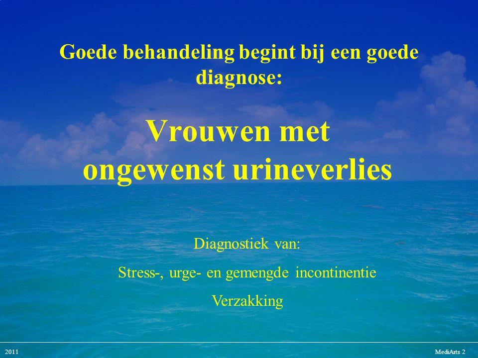 2011MediArts 2 Vrouwen met ongewenst urineverlies Diagnostiek van: Stress-, urge- en gemengde incontinentie Verzakking Goede behandeling begint bij ee