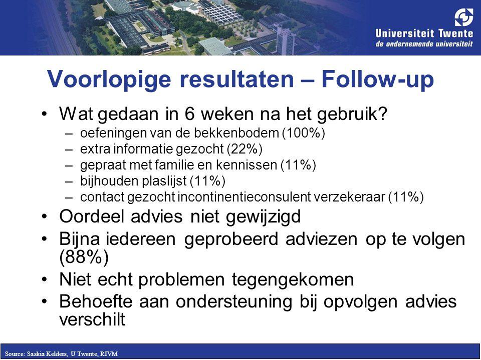 Voorlopige resultaten – Follow-up Wat gedaan in 6 weken na het gebruik? –oefeningen van de bekkenbodem (100%) –extra informatie gezocht (22%) –gepraat