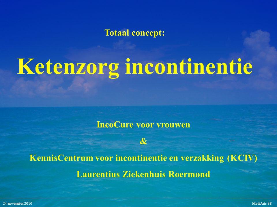 24 november 2010MediArts 38 IncoCure voor vrouwen & KennisCentrum voor incontinentie en verzakking (KCIV) Laurentius Ziekenhuis Roermond Totaal concep
