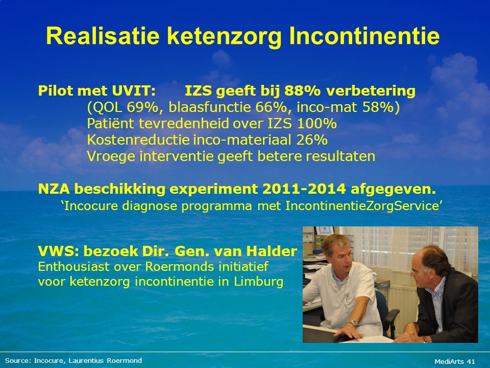 MediArts 41 Realisatie ketenzorg Incontinentie Source: Incocure, Laurentius Roermond Pilot met UVIT: IZS geeft bij 88% verbetering (QOL 69%, blaasfunc