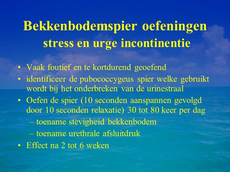 Bekkenbodemspier oefeningen stress en urge incontinentie Vaak foutief en te kortdurend geoefend identificeer de pubococcygeus spier welke gebruikt wor