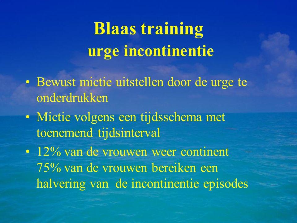 Blaas training urge incontinentie Bewust mictie uitstellen door de urge te onderdrukken Mictie volgens een tijdsschema met toenemend tijdsinterval 12%