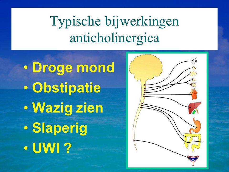 Typische bijwerkingen anticholinergica Droge mond Obstipatie Wazig zien Slaperig UWI ?