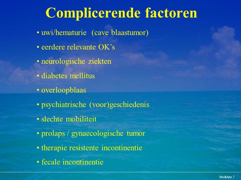 MediArts 7 Complicerende factoren uwi/hematurie (cave blaastumor) eerdere relevante OK's neurologische ziekten diabetes mellitus overloopblaas psychia