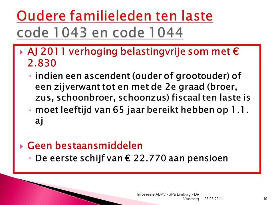  AJ 2011 verhoging belastingvrije som met € 2.830 ◦ indien een ascendent (ouder of grootouder) of een zijverwant tot en met de 2e graad (broer, zus, schoonbroer, schoonzus) fiscaal ten laste is ◦ moet leeftijd van 65 jaar bereikt hebben op 1.1.