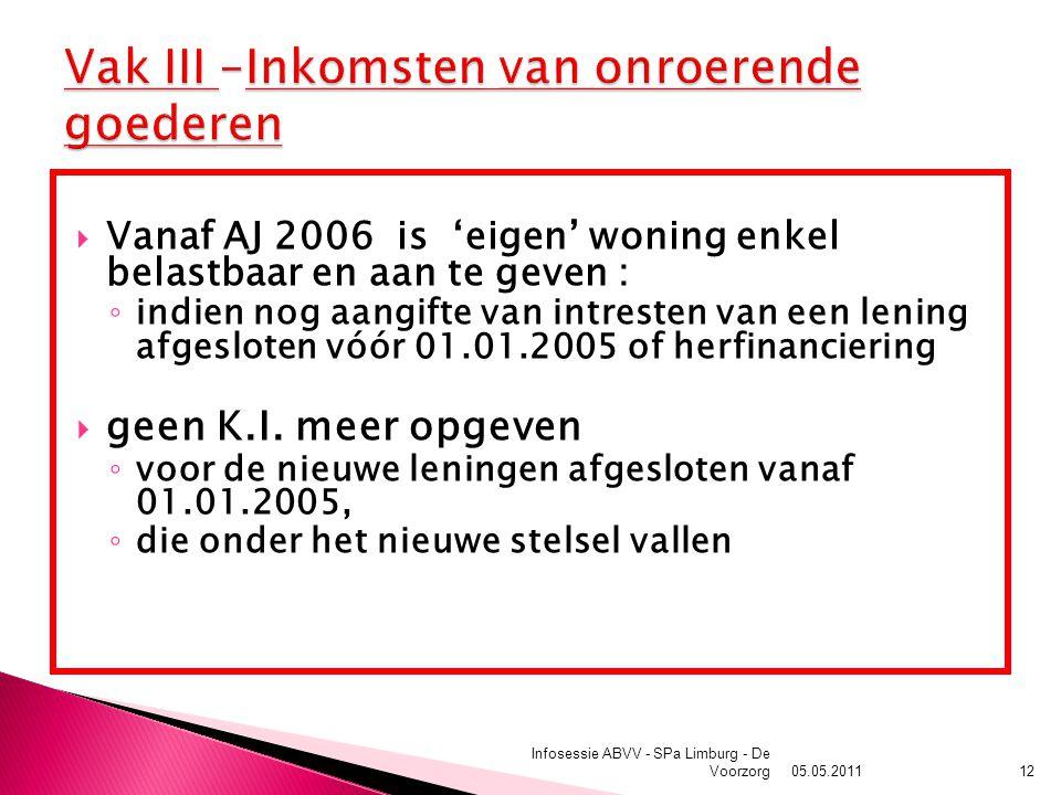 05.05.2011 Infosessie ABVV - SPa Limburg - De Voorzorg12  Vanaf AJ 2006 is 'eigen' woning enkel belastbaar en aan te geven : ◦ indien nog aangifte van intresten van een lening afgesloten vóór 01.01.2005 of herfinanciering  geen K.I.