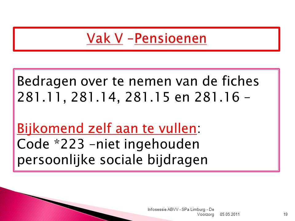 05.05.2011 Infosessie ABVV - SPa Limburg - De Voorzorg19 Bedragen over te nemen van de fiches 281.11, 281.14, 281.15 en 281.16 – Bijkomend zelf aan te vullen: Code *223 –niet ingehouden persoonlijke sociale bijdragen