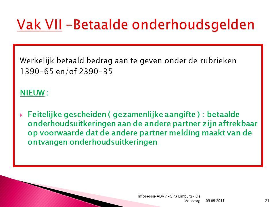 05.05.2011 Infosessie ABVV - SPa Limburg - De Voorzorg21 Werkelijk betaald bedrag aan te geven onder de rubrieken 1390-65 en/of 2390-35 NIEUW :  Feitelijke gescheiden ( gezamenlijke aangifte ) : betaalde onderhoudsuitkeringen aan de andere partner zijn aftrekbaar op voorwaarde dat de andere partner melding maakt van de ontvangen onderhoudsuitkeringen