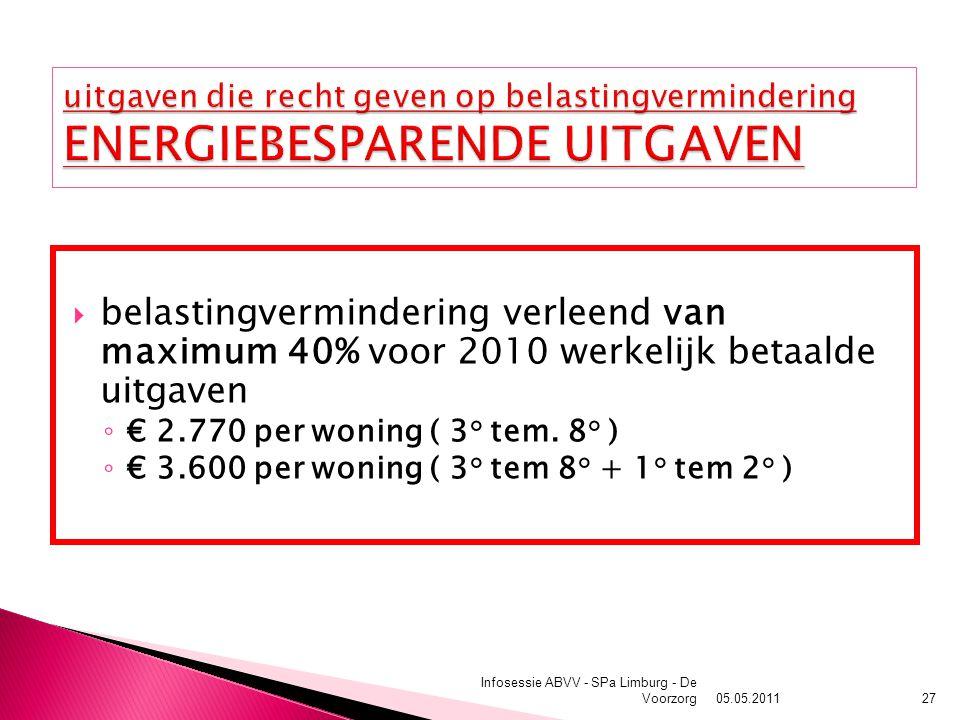  belastingvermindering verleend van maximum 40% voor 2010 werkelijk betaalde uitgaven ◦ € 2.770 per woning ( 3° tem. 8° ) ◦ € 3.600 per woning ( 3° t