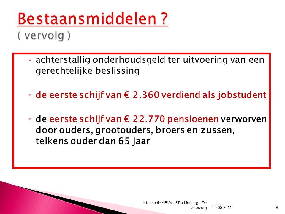 ◦ achterstallig onderhoudsgeld ter uitvoering van een gerechtelijke beslissing ◦ de eerste schijf van € 2.360 verdiend als jobstudent ◦ de eerste schijf van € 22.770 pensioenen verworven door ouders, grootouders, broers en zussen, telkens ouder dan 65 jaar 05.05.2011 Infosessie ABVV - SPa Limburg - De Voorzorg9
