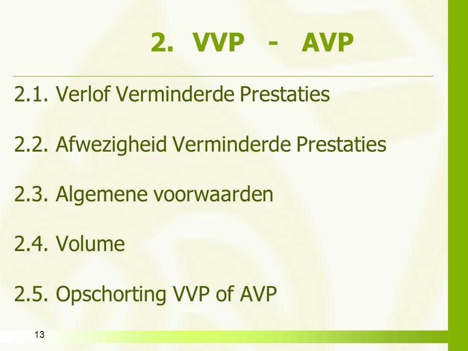13 2.VVP - AVP 2.1. Verlof Verminderde Prestaties 2.2. Afwezigheid Verminderde Prestaties 2.3. Algemene voorwaarden 2.4. Volume 2.5. Opschorting VVP o