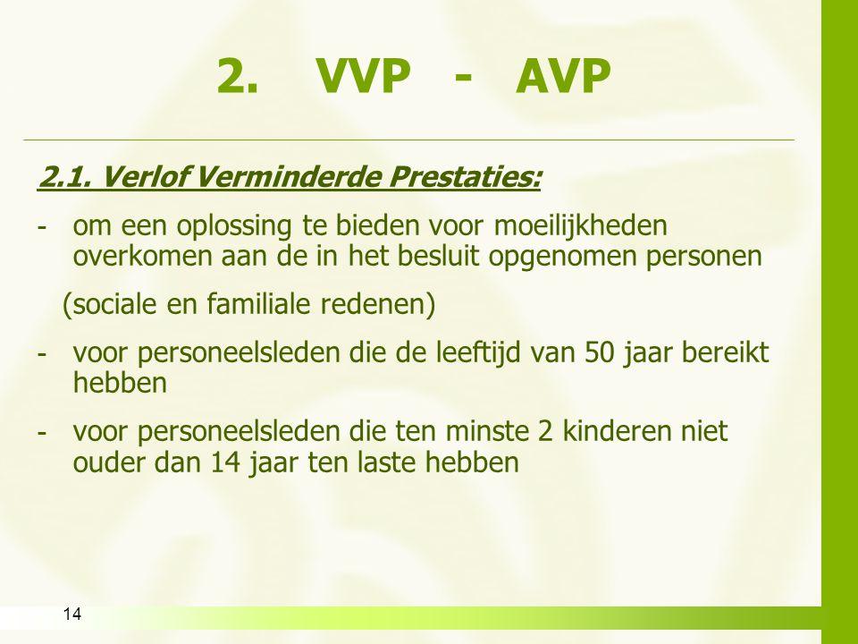 14 2. VVP - AVP 2.1. Verlof Verminderde Prestaties: - om een oplossing te bieden voor moeilijkheden overkomen aan de in het besluit opgenomen personen