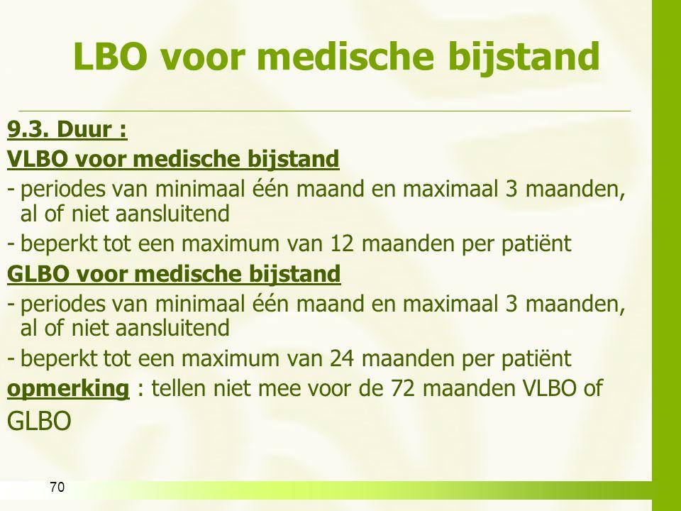 70 LBO voor medische bijstand 9.3. Duur : VLBO voor medische bijstand -periodes van minimaal één maand en maximaal 3 maanden, al of niet aansluitend -