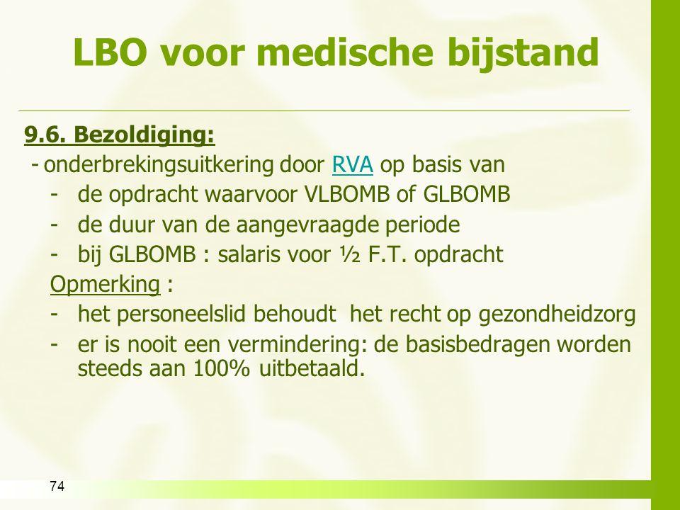 74 LBO voor medische bijstand 9.6. Bezoldiging: -onderbrekingsuitkering door RVA op basis vanRVA -de opdracht waarvoor VLBOMB of GLBOMB -de duur van d
