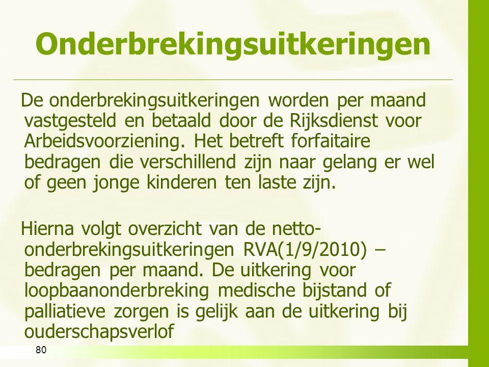 80 Onderbrekingsuitkeringen De onderbrekingsuitkeringen worden per maand vastgesteld en betaald door de Rijksdienst voor Arbeidsvoorziening. Het betre