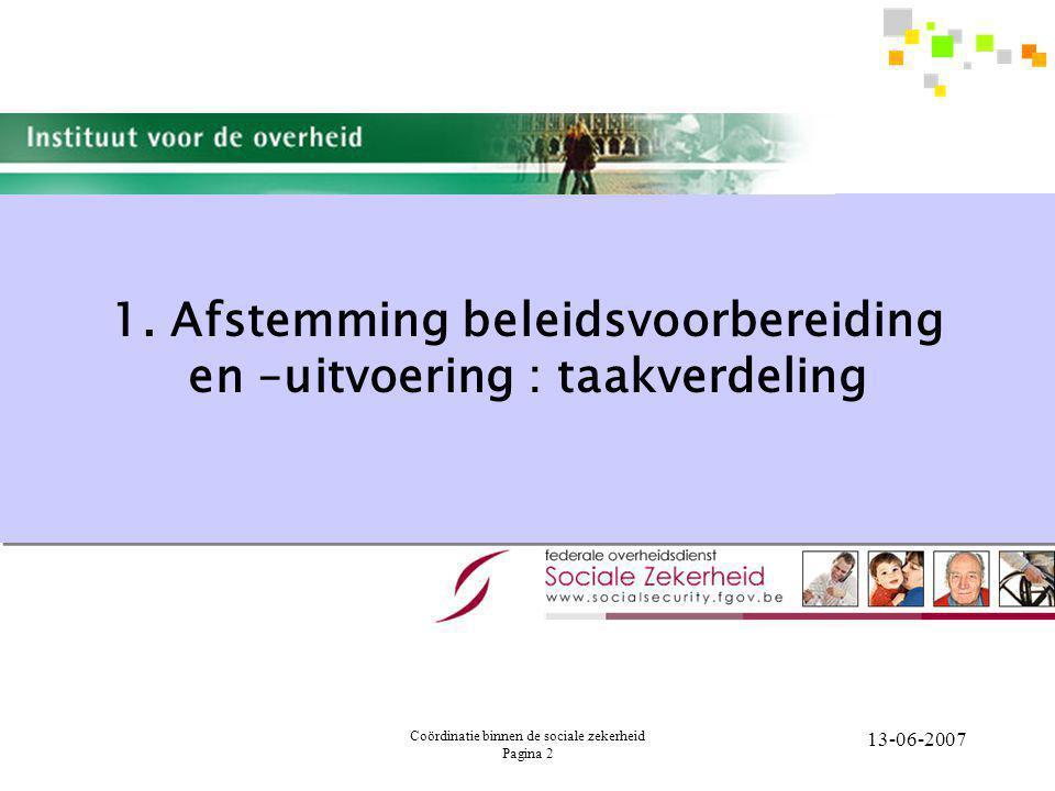 Coördinatie binnen de sociale zekerheid Pagina 3 13-06-2007 Verschillende modellen Mogelijke modellen van beleidsondersteuning  A.