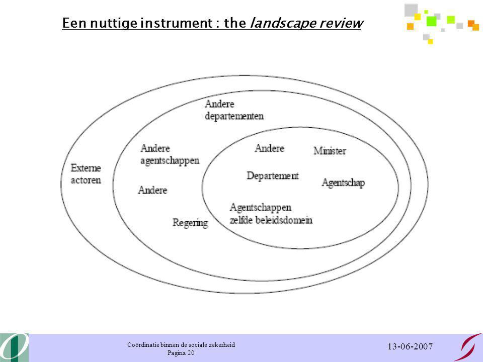 Coördinatie binnen de sociale zekerheid Pagina 20 13-06-2007 Een nuttige instrument : the landscape review