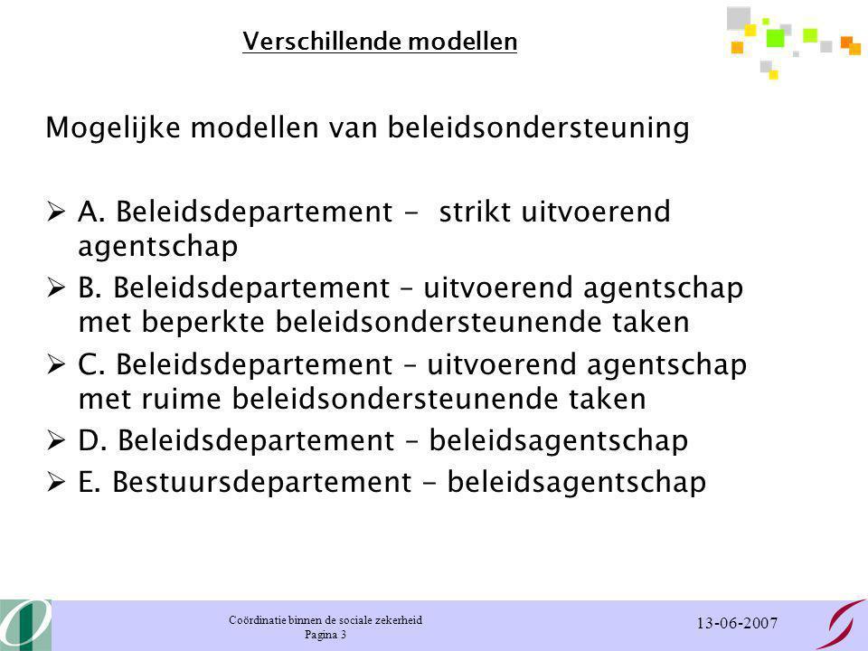 Coördinatie binnen de sociale zekerheid Pagina 4 13-06-2007 Sociale Zekerheid in België Belgische regering Federale centrale departementen Primaire netwerk Secundaire netwerken Vakbonden Werkgevers- organisaties