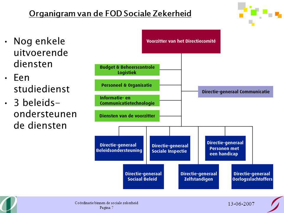 Coördinatie binnen de sociale zekerheid Pagina 7 13-06-2007 Organigram van de FOD Sociale Zekerheid Nog enkele uitvoerende diensten Een studiedienst 3 beleids- ondersteunen de diensten