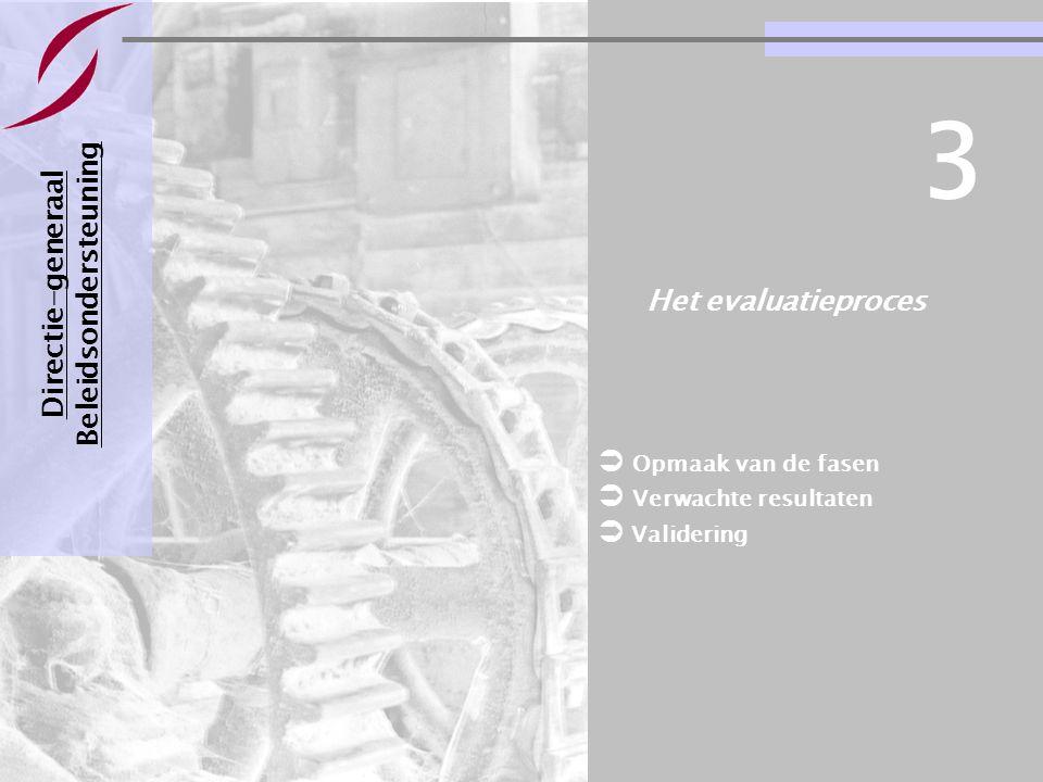 Evaluatie van een bestuursovereenkomst Pagina 21 21-11-2007 Het evaluatieproces Directie-generaal Beleidsondersteuning 3  Opmaak van de fasen  Verwa