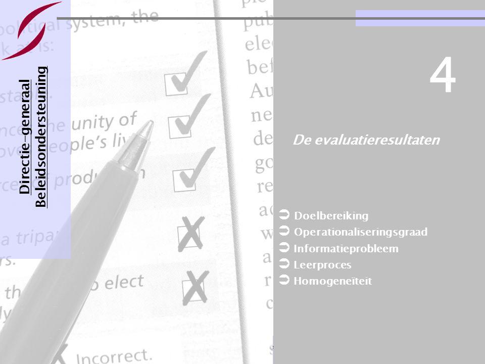 Evaluatie van een bestuursovereenkomst Pagina 25 21-11-2007 De evaluatieresultaten Directie-generaal Beleidsondersteuning 4  Doelbereiking  Operatio