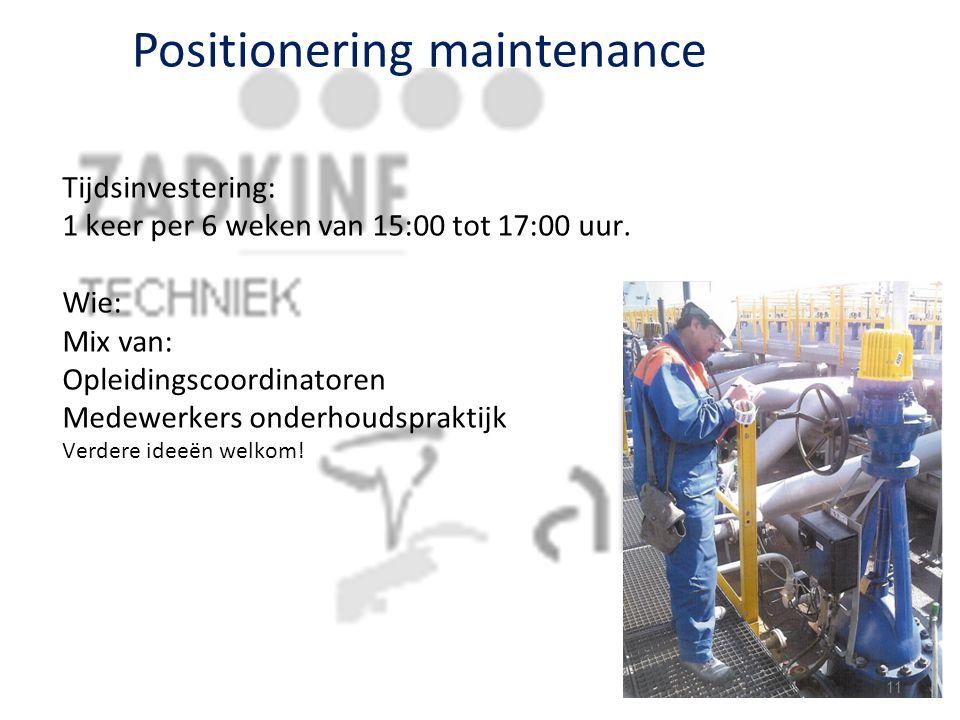 Positionering maintenance Tijdsinvestering: 1 keer per 6 weken van 15:00 tot 17:00 uur. Wie: Mix van: Opleidingscoordinatoren Medewerkers onderhoudspr