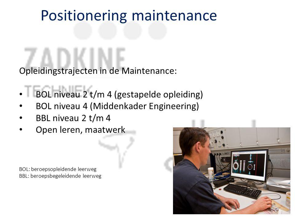 Positionering maintenance Opleidingstrajecten in de Maintenance: BOL niveau 2 t/m 4 (gestapelde opleiding) BOL niveau 4 (Middenkader Engineering) BBL