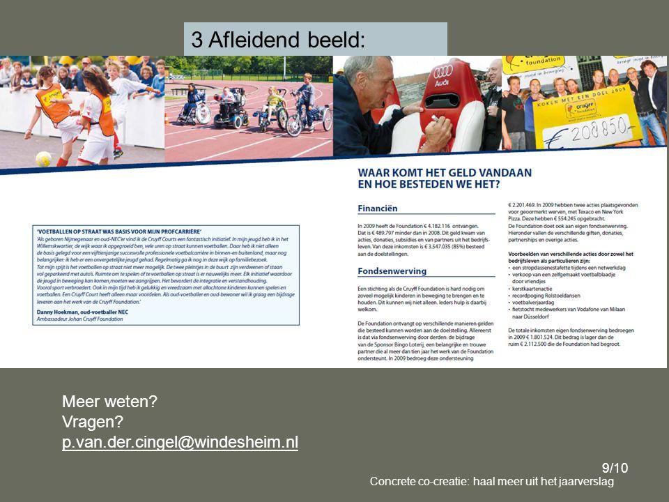 9/10 Concrete co-creatie: haal meer uit het jaarverslag 3 Afleidend beeld: Meer weten.