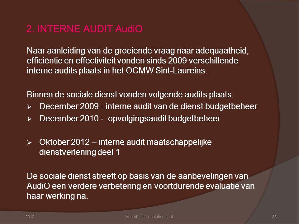 2. INTERNE AUDIT AudiO Naar aanleiding van de groeiende vraag naar adequaatheid, efficiëntie en effectiviteit vonden sinds 2009 verschillende interne