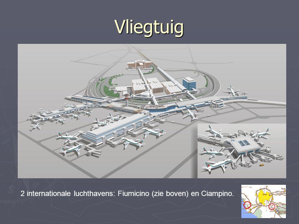 Vliegtuig 2 internationale luchthavens: Fiumicino (zie boven) en Ciampino.