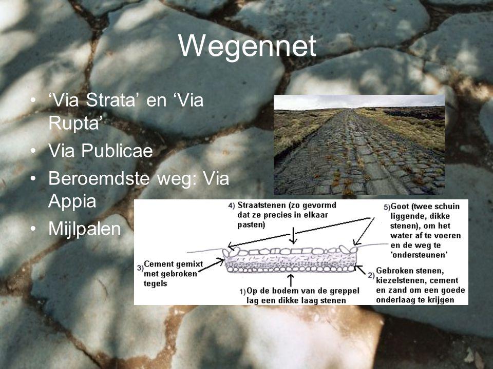 Wegennet 'Via Strata' en 'Via Rupta' Via Publicae Beroemdste weg: Via Appia Mijlpalen