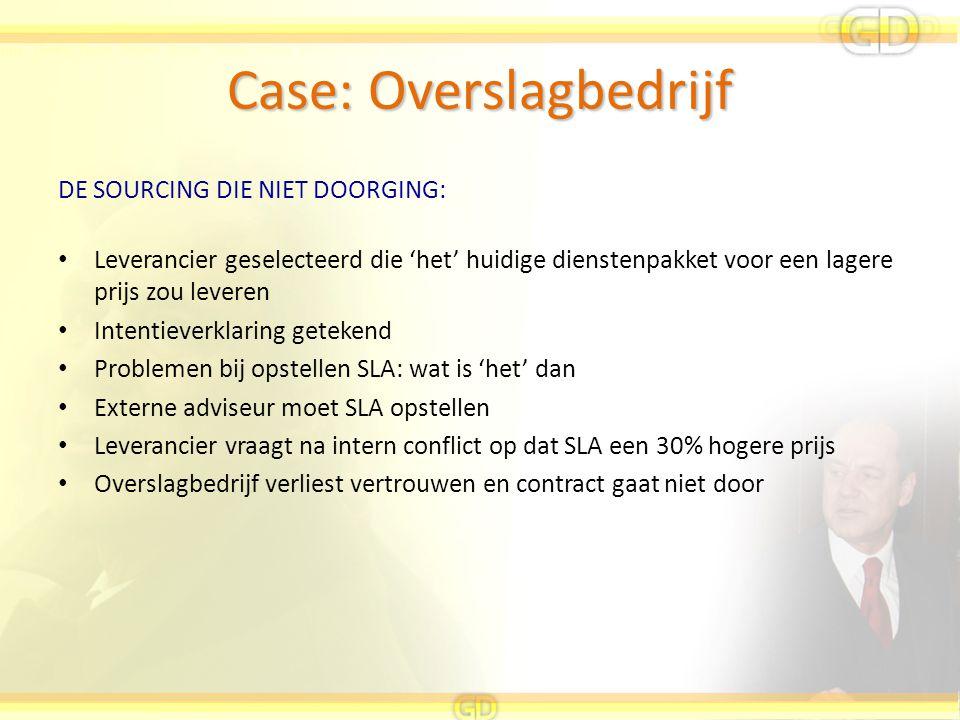 Case: Overslagbedrijf DE SOURCING DIE NIET DOORGING: Leverancier geselecteerd die 'het' huidige dienstenpakket voor een lagere prijs zou leveren Inten