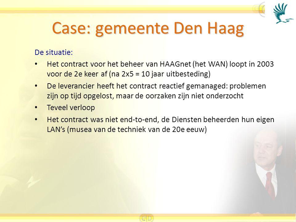Case: gemeente Den Haag De situatie: Het contract voor het beheer van HAAGnet (het WAN) loopt in 2003 voor de 2e keer af (na 2x5 = 10 jaar uitbestedin