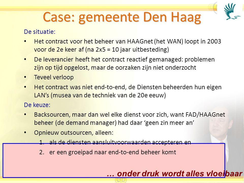 … onder druk wordt alles vloeibaar Case: gemeente Den Haag De situatie: Het contract voor het beheer van HAAGnet (het WAN) loopt in 2003 voor de 2e ke