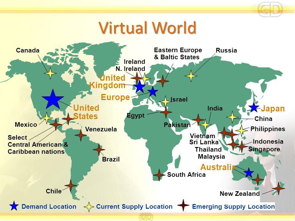 Virtual World Current Supply Location Emerging Supply Location Demand Location Japan Mexico Canada Ireland N.
