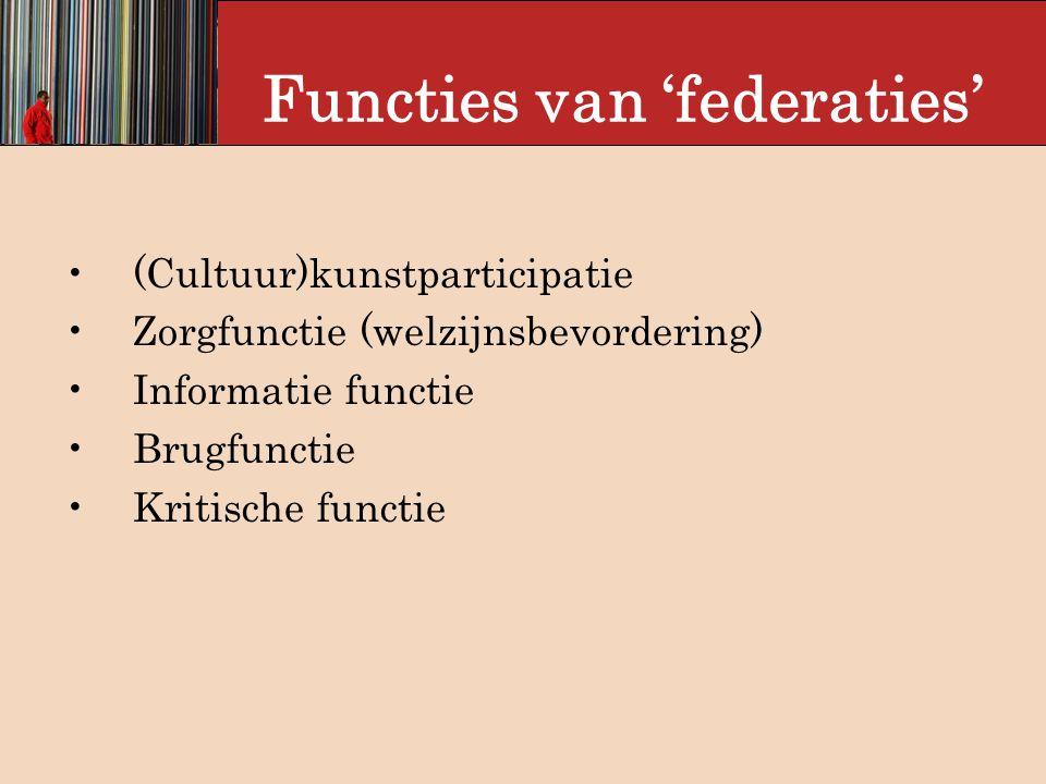 Functies van 'federaties' (Cultuur)kunstparticipatie Zorgfunctie (welzijnsbevordering) Informatie functie Brugfunctie Kritische functie