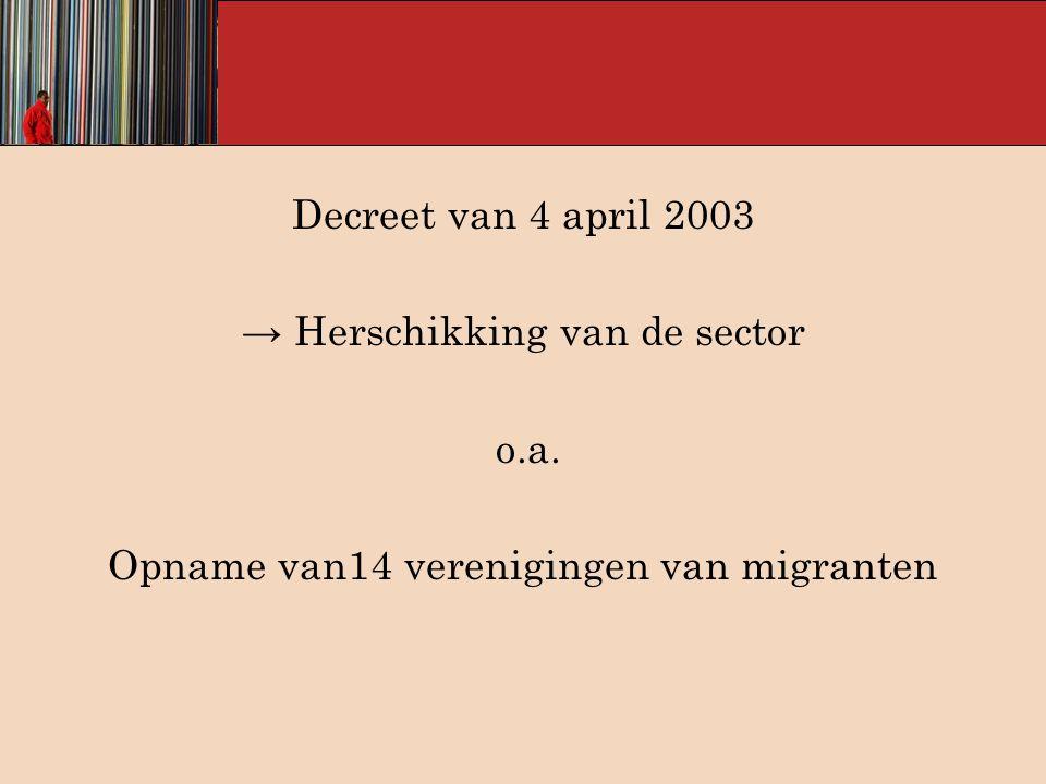 Decreet van 4 april 2003 → Herschikking van de sector o.a. Opname van14 verenigingen van migranten
