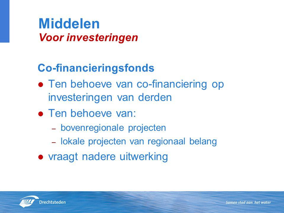 Co-financieringsfonds Ten behoeve van co-financiering op investeringen van derden Ten behoeve van: – bovenregionale projecten – lokale projecten van regionaal belang vraagt nadere uitwerking Middelen Voor investeringen