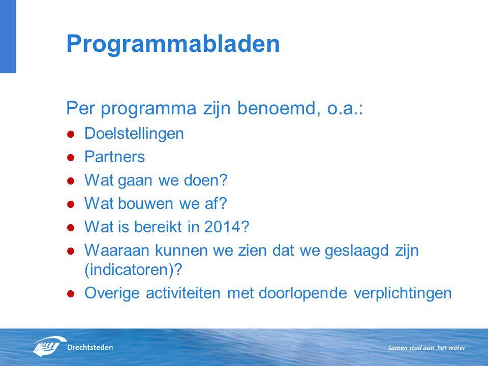 Programmabladen Per programma zijn benoemd, o.a.: Doelstellingen Partners Wat gaan we doen.