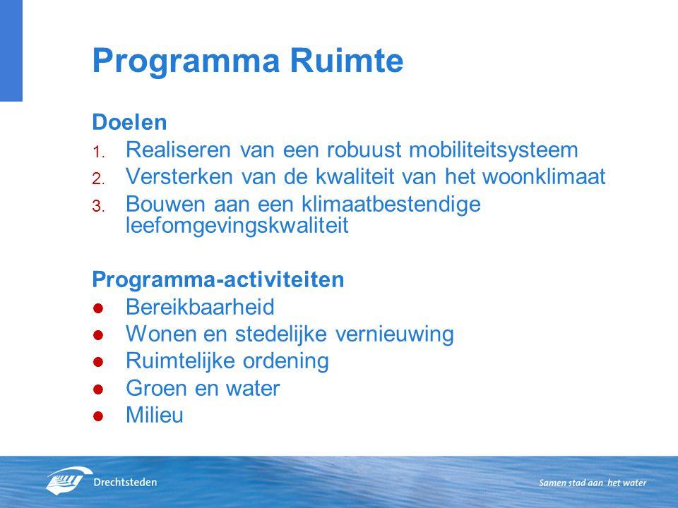 Programma Ruimte Doelen 1. Realiseren van een robuust mobiliteitsysteem 2.