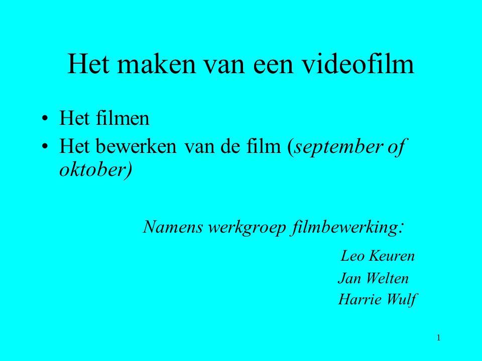 1 Het maken van een videofilm Het filmen Het bewerken van de film (september of oktober) Namens werkgroep filmbewerking : Leo Keuren Jan Welten Harrie