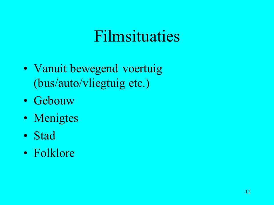 12 Filmsituaties Vanuit bewegend voertuig (bus/auto/vliegtuig etc.) Gebouw Menigtes Stad Folklore