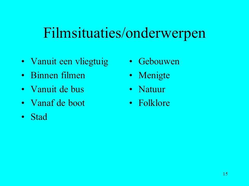 15 Filmsituaties/onderwerpen Vanuit een vliegtuig Binnen filmen Vanuit de bus Vanaf de boot Stad Gebouwen Menigte Natuur Folklore