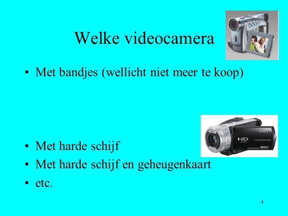 4 Welke videocamera Met bandjes (wellicht niet meer te koop) Met harde schijf Met harde schijf en geheugenkaart etc.